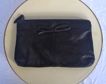 Vintage 80s Black Leather Clutch with Bow Made by Antonia