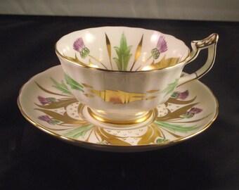 Beautiful RareRoyal Chelsea England Thistle Purple Green Gold teacup and Saucer