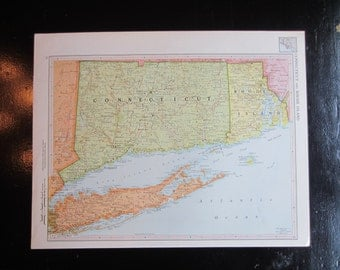 Vintage 1959 Connecticut/Rhode Island or Colorado map