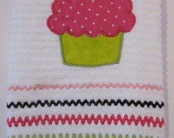 Embroidered Dish Towel, Cupcake Applique