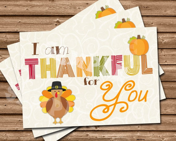 Thankful For You - Thanksgiving Card Set - Thanksgiving Cards - Thankful Card - Thanksgiving - Turkey Thankful - Custom Thanksgiving Cards