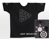 Impossible Twisted Triangle . Geometry . Optical Illusion T-shirt . light reflective silver print