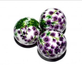 1 pc/14 mm Stunning Japanese TENSHA bead (White with purple flowers)