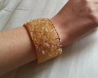 Gold Wire Wrapped Citrine Chips Bangle (Adjustable)