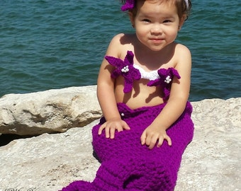 Purple Mermaid Crochet photo prop set, Newborn to teen,Photography Outfit, Handmaid Boutique, mermaid Costume
