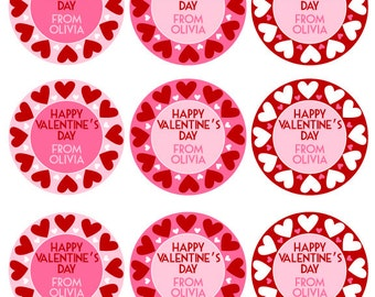 Digital Printable Valentine's Day Gift Tags - Valentine's Day Gift Tags - NAME PERSONALIZATION INCLUDED
