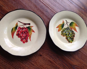 Set of 2 hand painted 6in plates- grapes