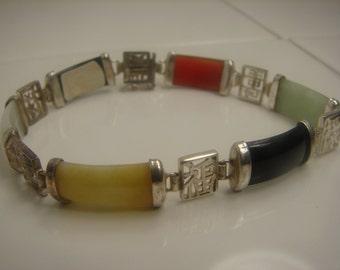 Sterling Silver Genuine Jade Panel Bracelet - 126