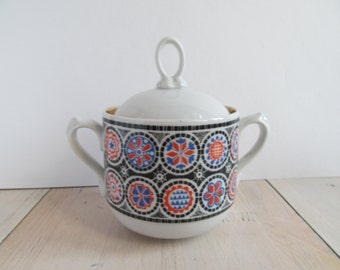 Vintage sugar bowl - White,black red and blue pattern - 1980s.