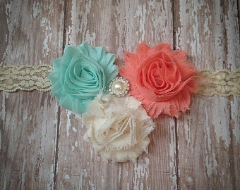Baby headband, Shabby Chic headband, Coral and Mint Headband, Lace headband, Newborn headband,Vintage headband, Wedding, Photo Prop