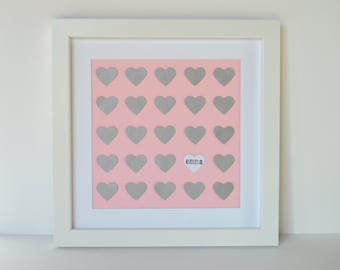 Pink And Gray Nursery Decor- Heart Themed Nursery, Paper Heart Art, Framed Nursery Art, Unique Baby Gift, Baptism Gift, Christening Gift