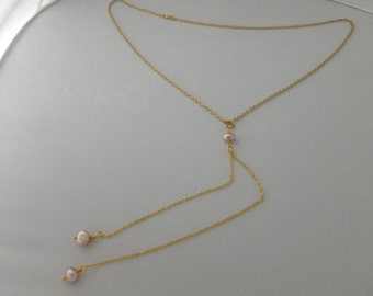 26 inch gold plated Y chain necklace with fresh water pearl dangling drops.