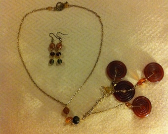 Carnelian Donuts Necklace