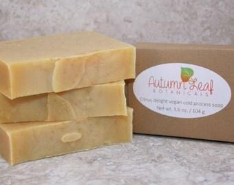 Citrus delight vegan cold process soap bar, Vegan soap