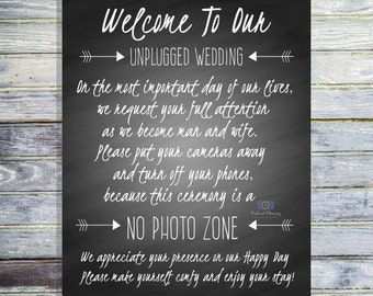 Unplugged Wedding Ceremony Sign - Wedding Decorations - Wedding Signage Printable - Turn Off Your Phones And Cameras Sign - INSTANT DOWNLOAD