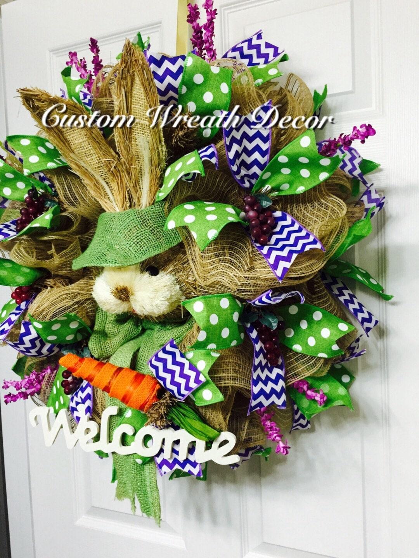 Easter Bunny Wreath Burlap Bunny Wreath Rabbit Wreath Sisal