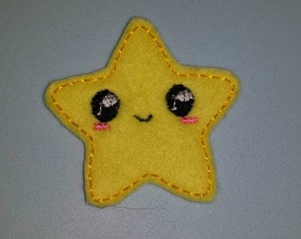 Cute happy kawaii star embroidery design pattern (in the hoop) file instant digital download fruit make for clip or hairband