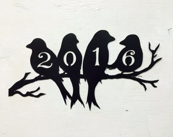 """Metal Birds On A Branch House Number Sign, 18"""" x 9.5"""""""