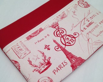 "Zipper Macbook air 15"" padded sleeve /Zipper Macbook 15"" case with retina./   Made in Maine / red and white Paris"