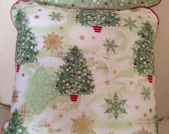 Green Gold Metallic Christmas Tree Pillow Cover