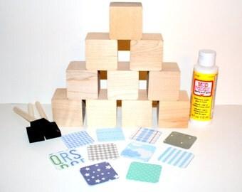 Diy baby shower craft children 39 s wooden blocks baby for Child craft wooden blocks