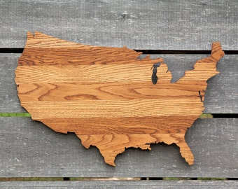 United States shape wood cutout sign wall art with star or heart. Repurposed Oak flooring. 17x27 in. Wedding Country Cabin Rustic Gift Decor