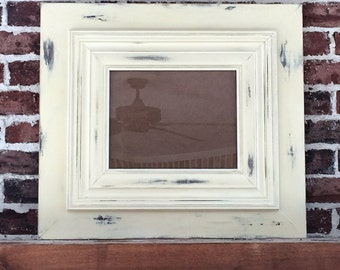 Large Old White Distressed Frame