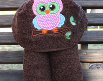 Hooded Baby Towel, Owl Hooded Baby and Toddler Towel, Girl Hooded Towel, Baby Shower Gift