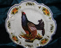 Vintage Decorative Plate of a Chicken has Crackle Finish Made in Lami Italy Modele Depositato Made of Melmac Melamine Great for Thanksgiving