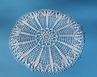 """Hand made Doily: """"Sweet Surprise"""" 18 inches across"""