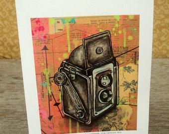 Vintage Kodak Duaflex camera blank greeting card