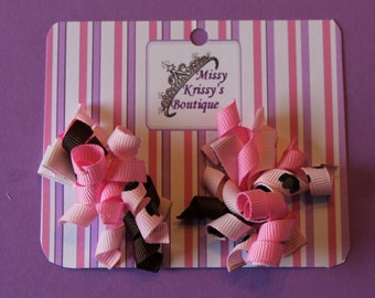 Baby Girl Korkey Hair Bow Hair Clips, Brown and Pink