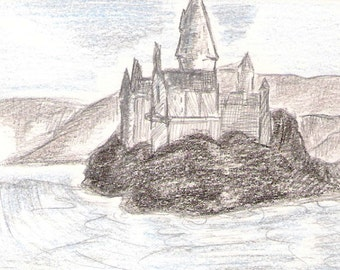 Harry Potter Hogwarts Castle Original Sketch Card By Kitty