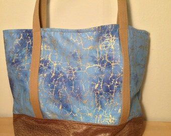 Light blue and silver marbled Bag