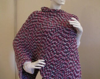 Light and Colourful  Women's Poncho.  Red ,Grey,Black, Elegant Soft Top  for  Chilly  Spring evenings.