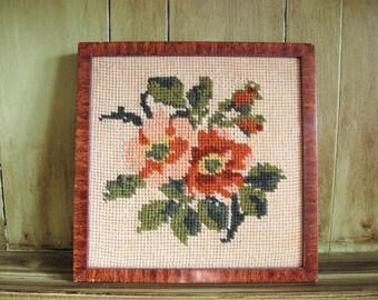 Vintage Framed Needlepoint Flowers