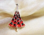 Vintage Signed BJ Christmas Tree Pin / Red and Green B J (Beatrix) Christmas Tree Brooch - Signed
