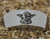 10mm Beveled Tungsten Carbide Band Star Wars Yoda Design Ring-Free Inside Engraving And Free US Shipping