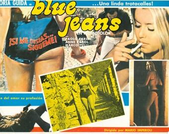 Movie Theater Placard, Blue Jeans, Spanish Language Placard, B Movie, Vintage Movie, Paper Ephemera, Gloria Guida, Home Decor