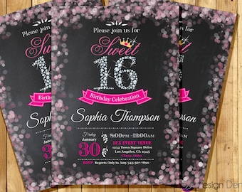 Hot pink Sweet 16th Birthday Invitation/Bokeh Invitation. Diamond/Chalkboard background/Tiara invitation/Hot pink 16th/Printable. #A1029