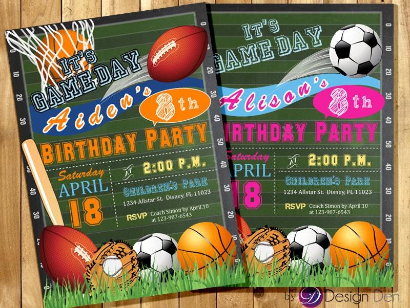 All Star Invitation Sports Theme Boys or Girls Sports – Sport Birthday Invitations