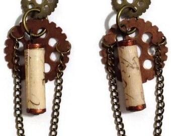 Paper Bead Steampunk Dangle Earrings, Paper Bead Earrings, Steampunk Earrings, Paperbead Jewelry (Antique copper & bronze)