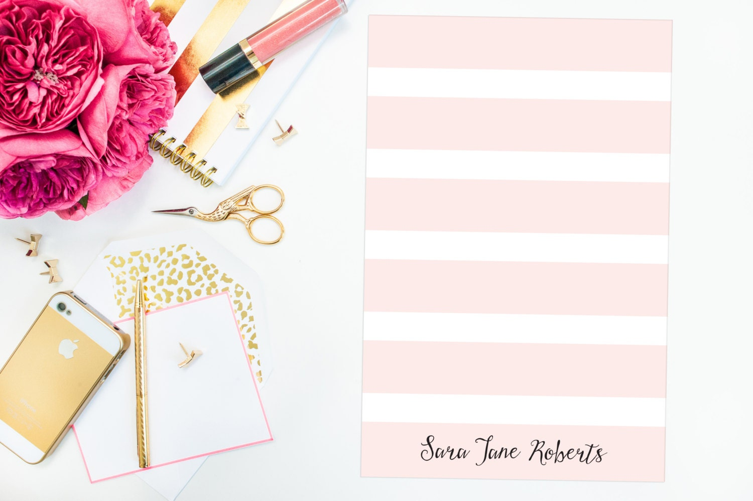 Personalized Striped Notepad