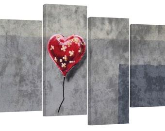 Banksy bandaid heart balloon/set of 4 new canvas prints/ 34x22 in