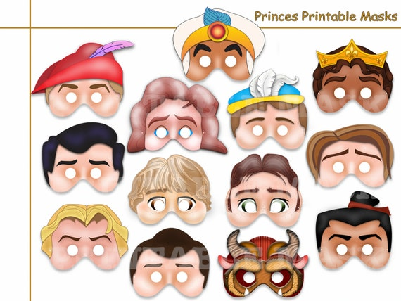Unique Prince Printable Masks party Phillip Aladdin Snow