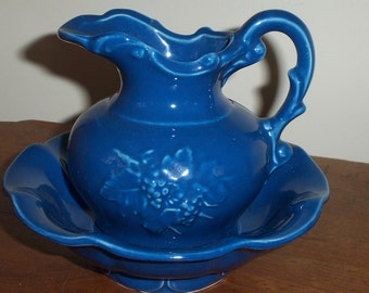 McCoy Pitcher and Wash Basin Vintage marked McCoy USA Small Blue