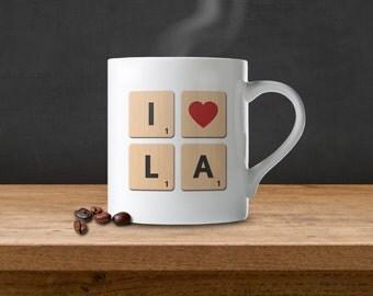 I Love Los Angeles (LA) Scrabble Tile Coffee Mug