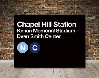 Chapel Hill Sports Venues Subway Sign Gallery Wrapped Canvas