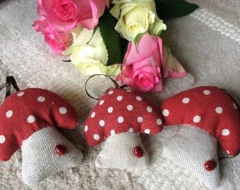 Handmade set of three Toadstools with ladybird reds linen mix