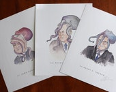 Veeptopus Fun Pack: FDR's 3 Vice Presidents - John Nance Garner, Henry Wallace, Harry S Truman. Ink/ Watercolor PRINT 8x10